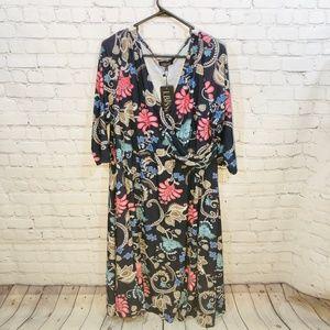 LBISSE Black Floral & Paisley Faux MIdi Wrap Dress